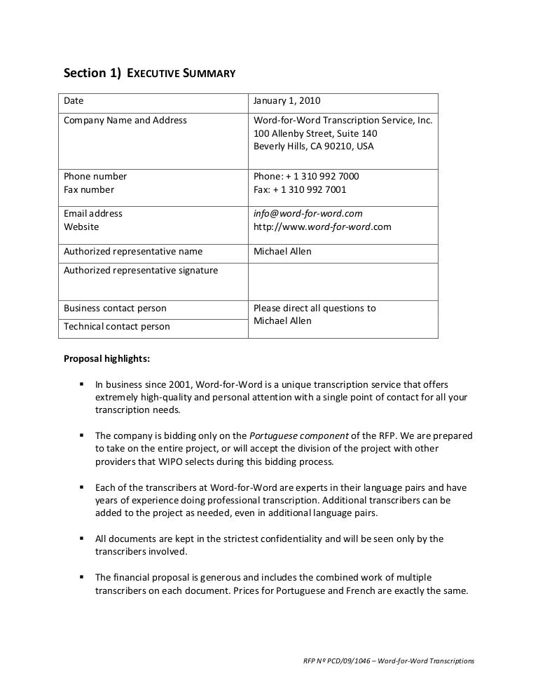 Rfp Proposal Template | Template