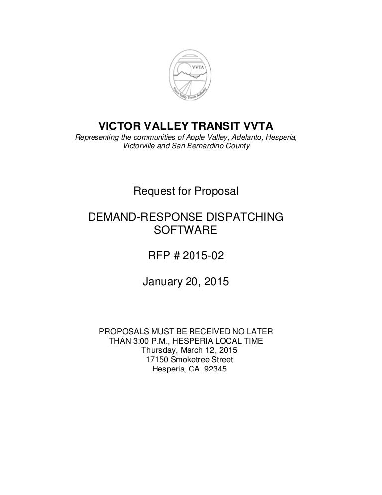 Vvta Rfp 2015-02: Demand Response Dispatching Software