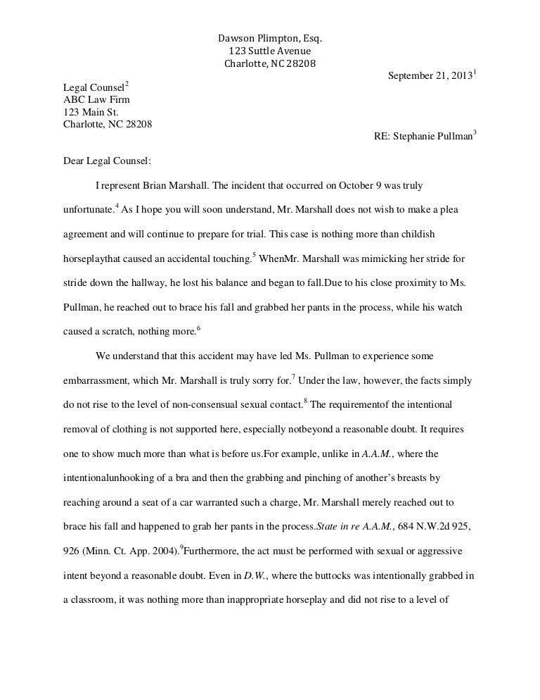 writing sample to opposing counsel