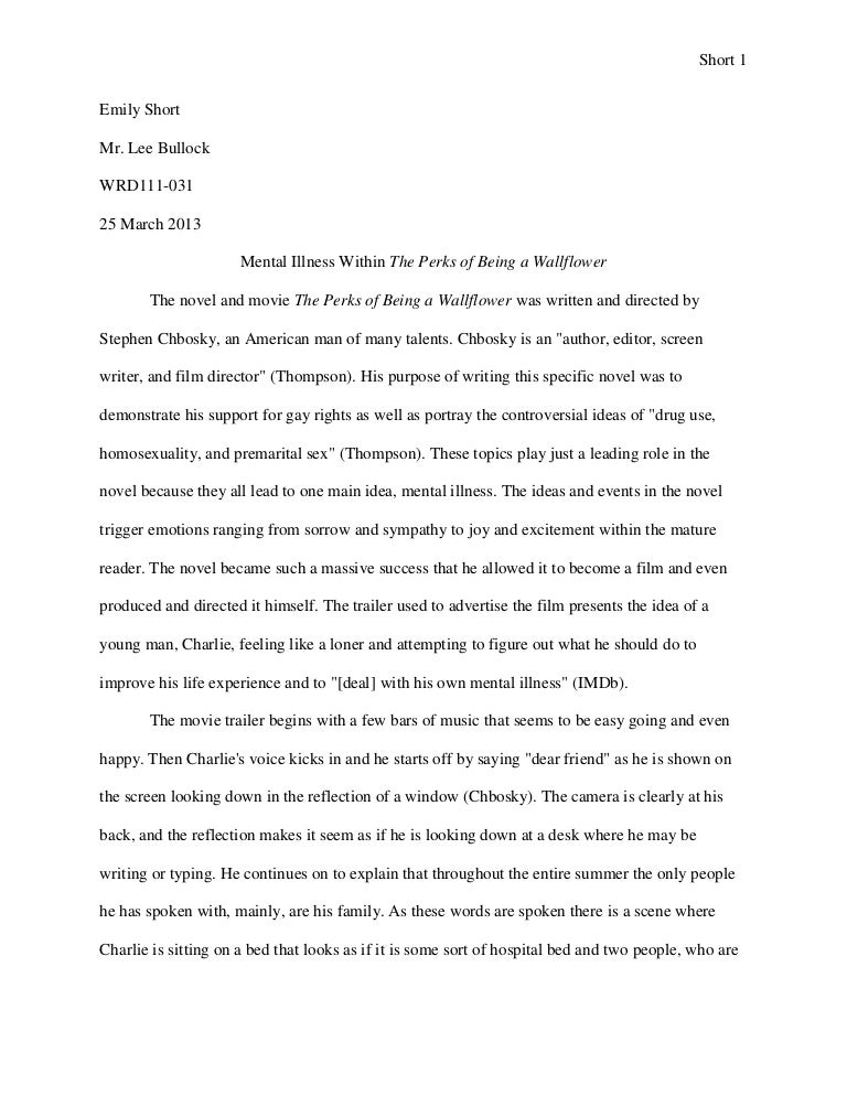 literary analysis essay on the perks of being a wallflower