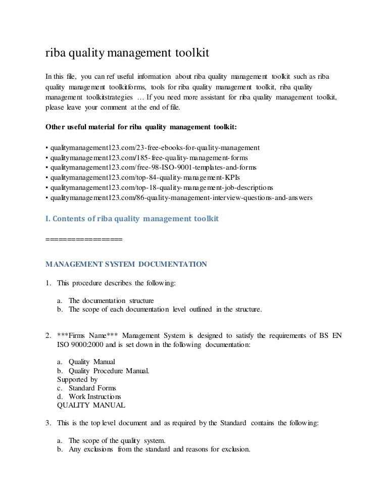 Riba Quality Management Toolkit