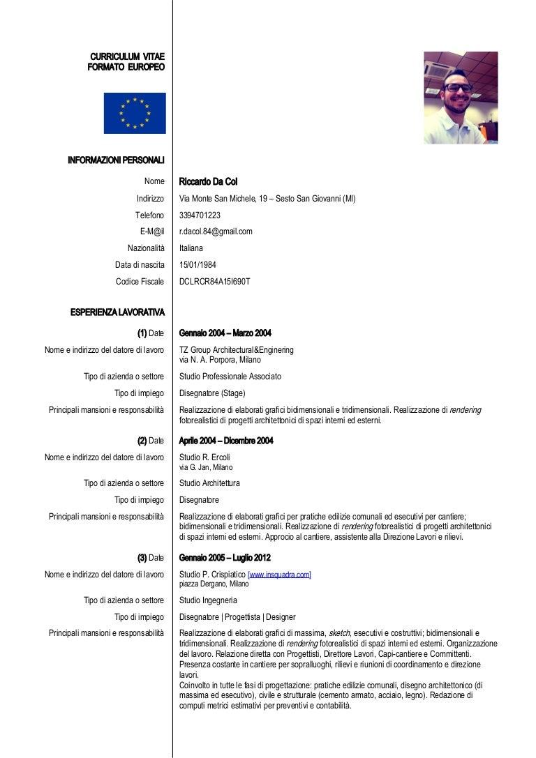 Riccardo Da Col Curriculum Vitae Disegnatore Pro Tista