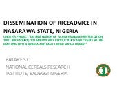 Dissemination of RiceAdvice in Nasarawa state, Nigeria