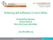 Achieving rice self-sufficiency in Africa