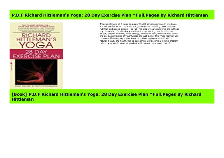 P D F Richard Hittleman S Yoga 28 Day Exercise Plan Full Pages By R