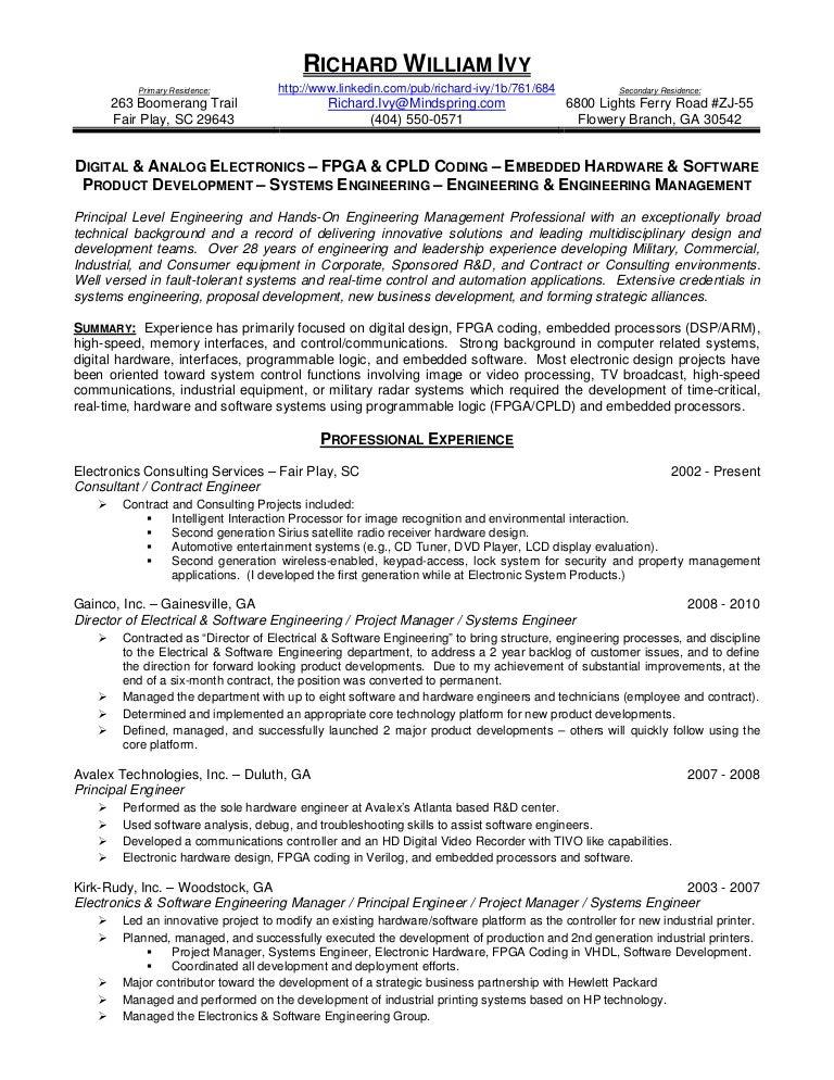 richard william ivy resume - Embedded Hardware Engineer Sample Resume