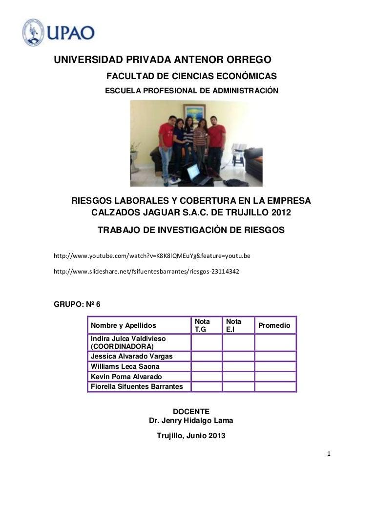 Riesgos laborales y cobertura en la empresa calzados jaguar s.a.c. de…