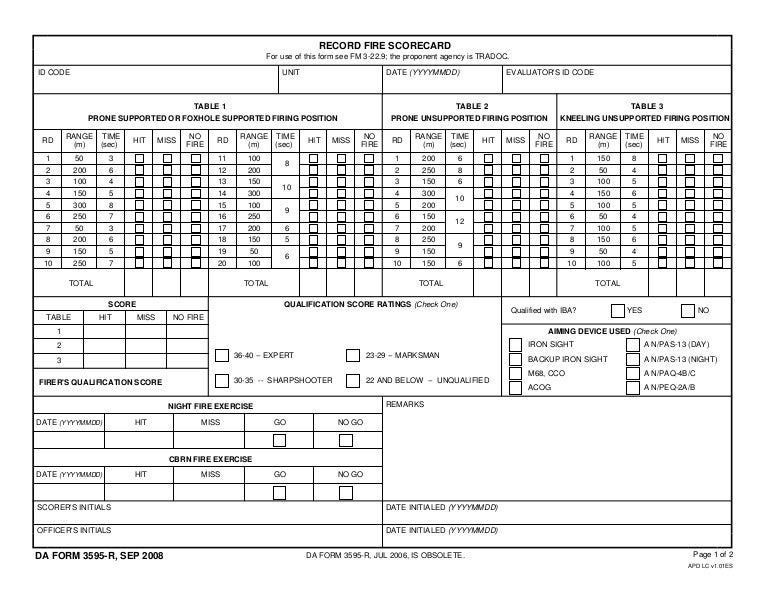 Da Form 3595 Weapons Card Fillable Gemescoolorg