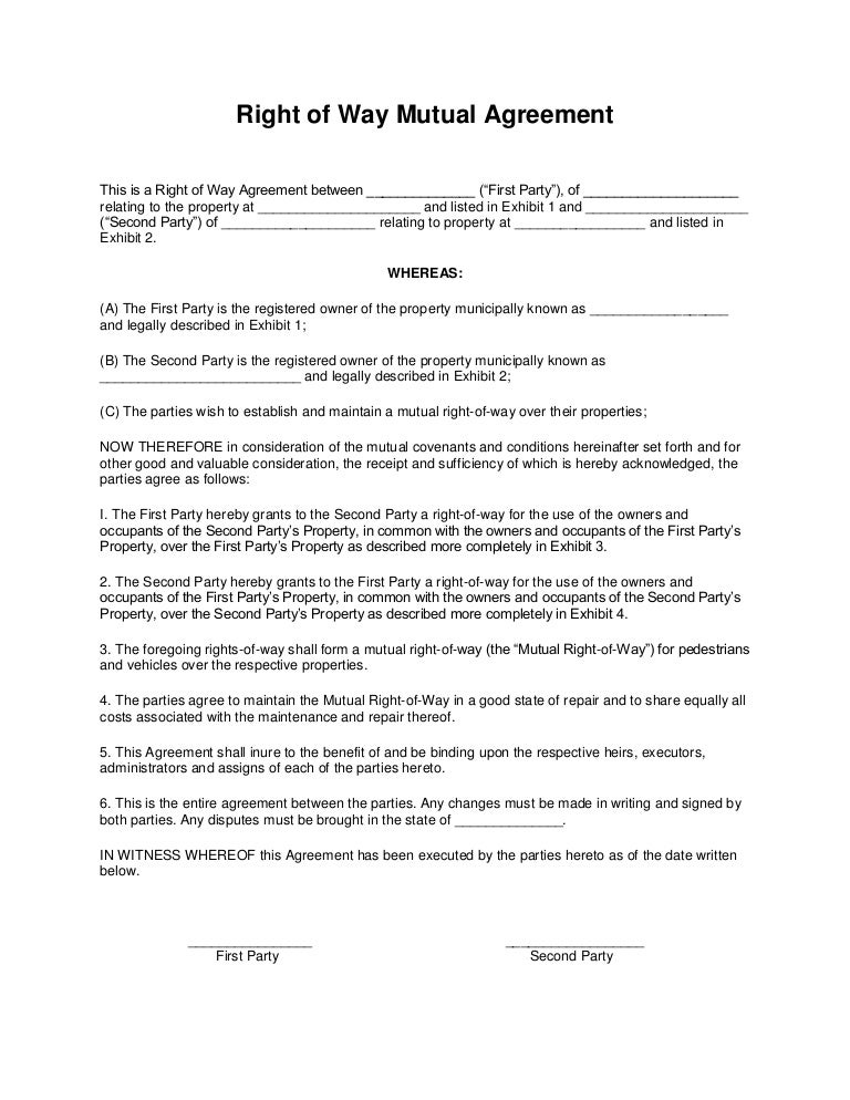 Right of way mutual agreement – Mutual Agreement Format