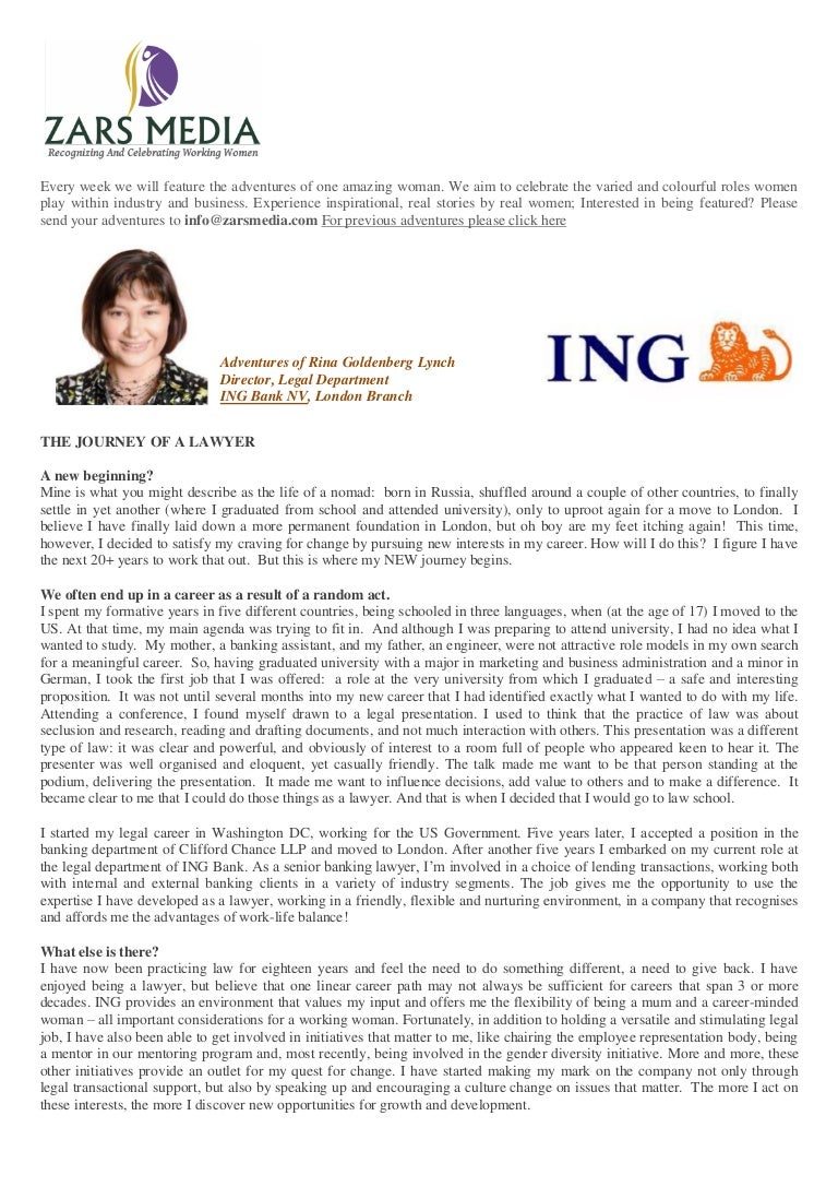 Rina Goldenberg Lynch Director Legal Department Ing Bank