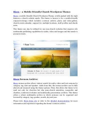 Risen Mobile-Friendly Church WordPress Theme