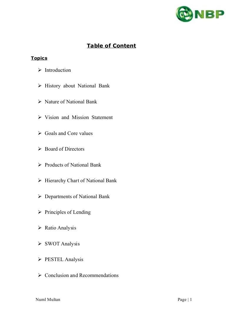 Financial Analysis of NBP 2013