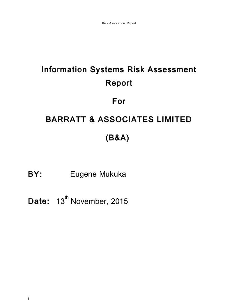 Risk Assessment Report
