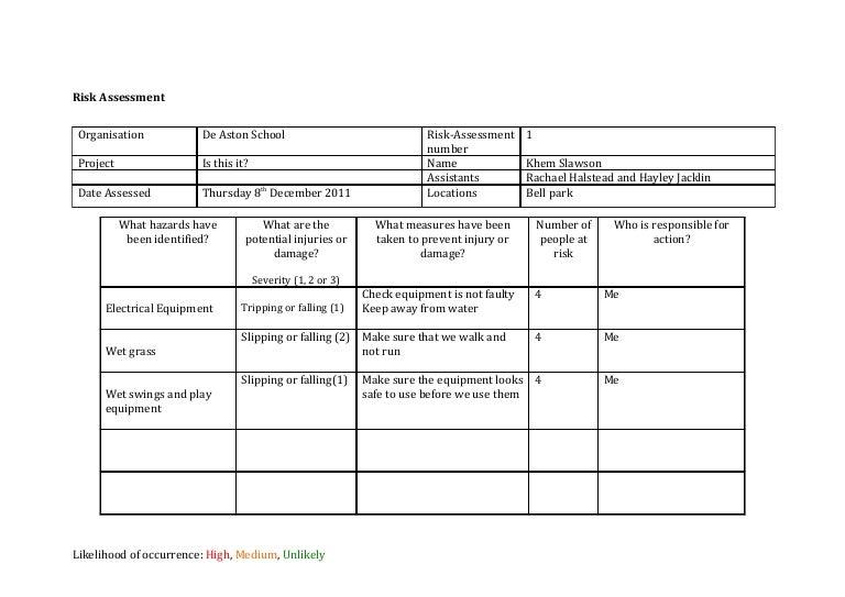 Risk assessment template media – Risk Assessment Template