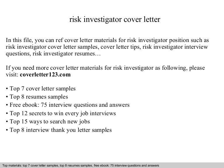 Risk investigator cover letter