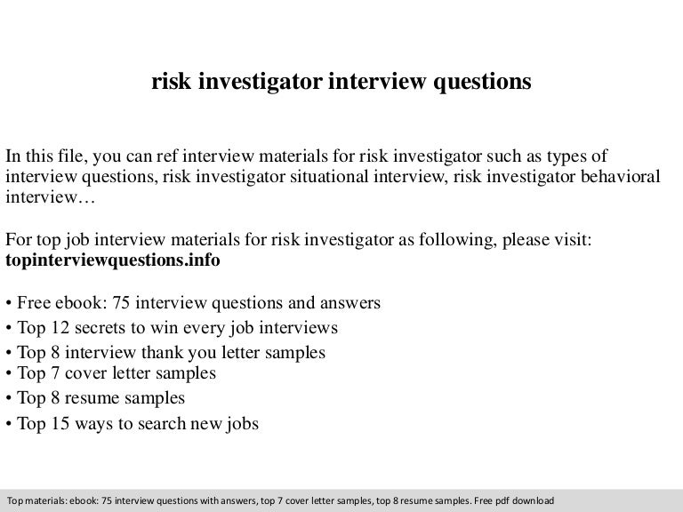 risk investigator interview questions