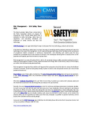 Risk Management – WA Safety Show 2012