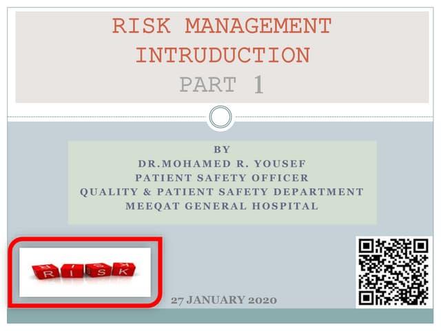 Risk management intruduction  part 1