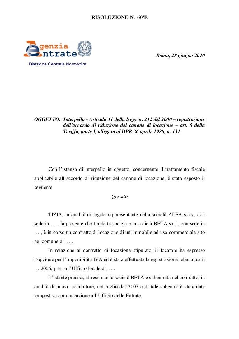 Riduzione del canone di locazione risoluzione 60 e - Compravendita immobili tra privati ...