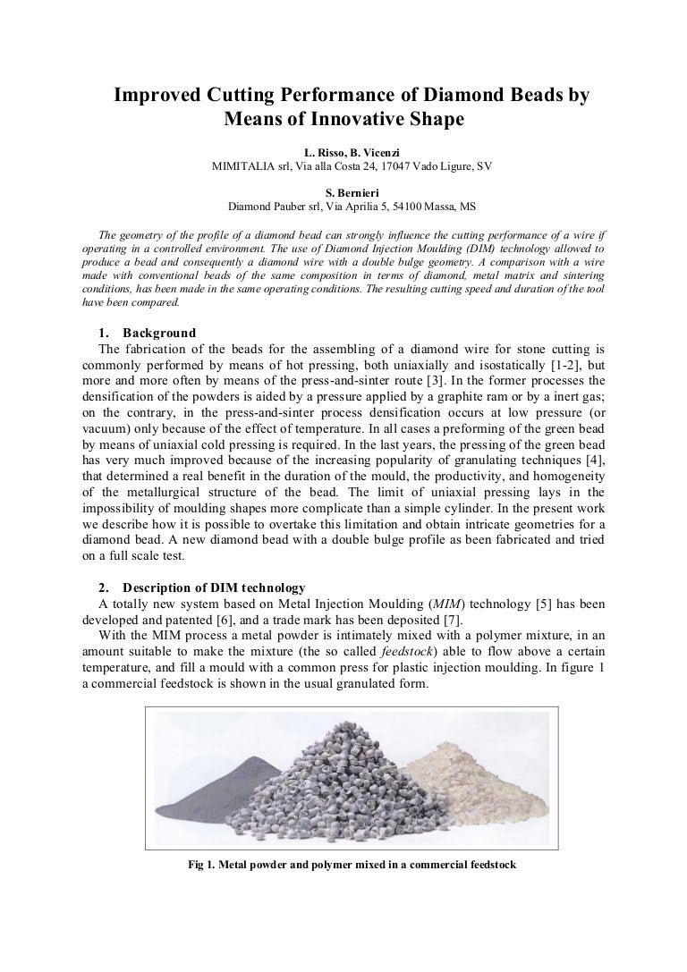 Improved Cutting Performance of Diamond Beads by Means of Innovative …