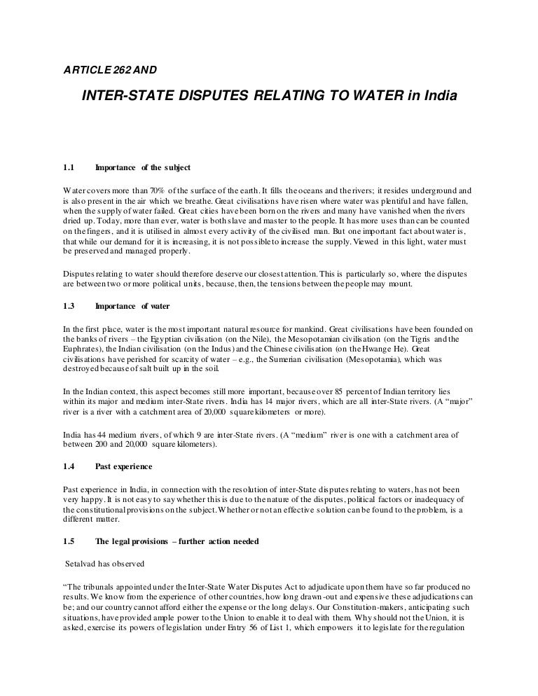 river water dispute and article