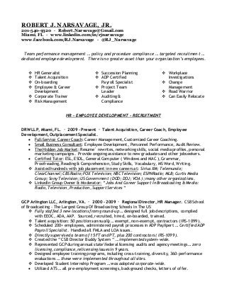 Talent Acquisition Manager Regarding Talent Acquisition Resume