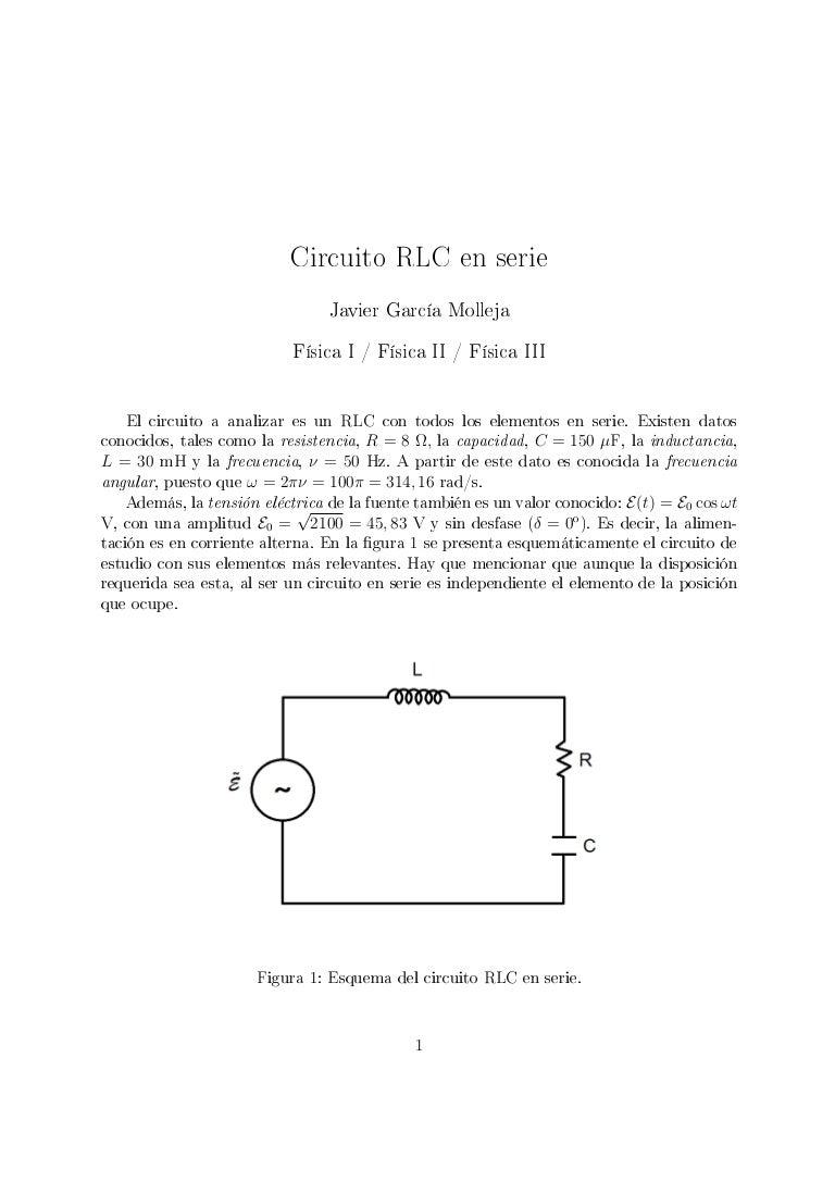 Circuito Rlc : Circuito rlc en serie