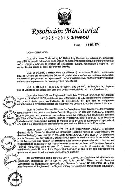 Rm 023 2015-minedu normas para contrato docente 2015-directiva