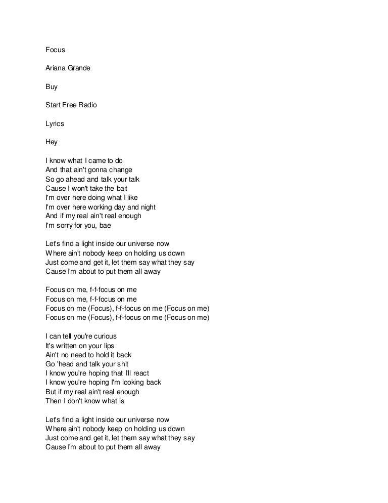 Lyric come away with me lyrics : focus lyrics
