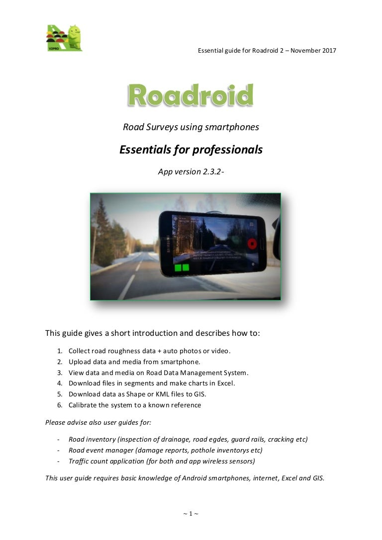 roadroid user guide version 2 3 2 pro 0 9 incl calibration appendix rh slideshare net Android Robot Android Human