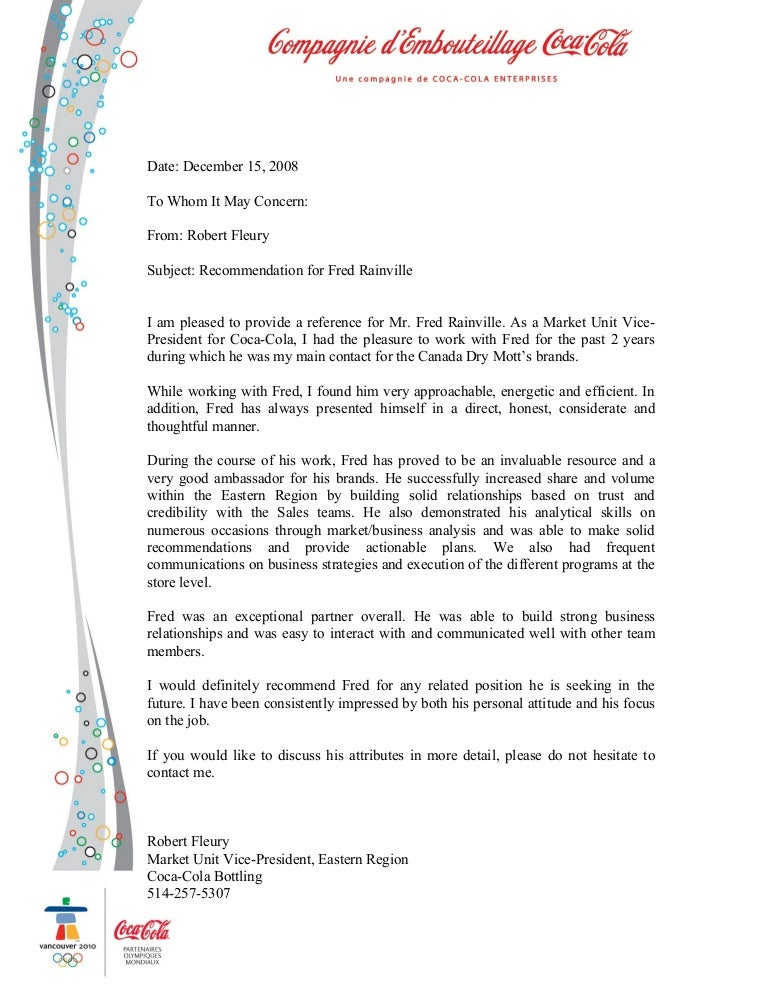 reference letter for business partner