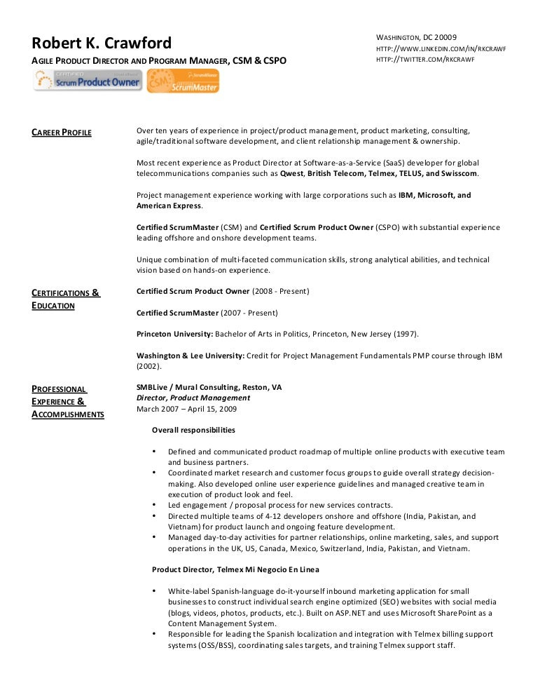 sample resume product manager