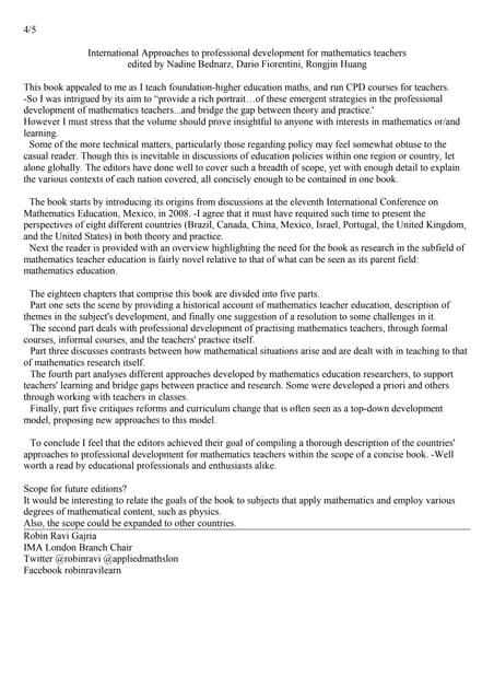 Robin ravi gajria ima mathematics today review 2 international approaches professional development mathematics teachers