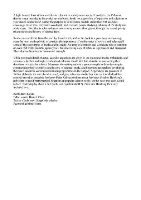 Robin ravi gajria ima mathematics today review 3 the calculus diaries