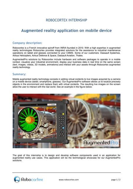 ROBOCORTEX INTERNSHIP : Augmented reality application on mobile device