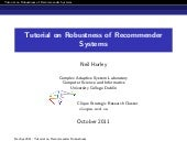 Tutorial on Robustness of Recommender Systems