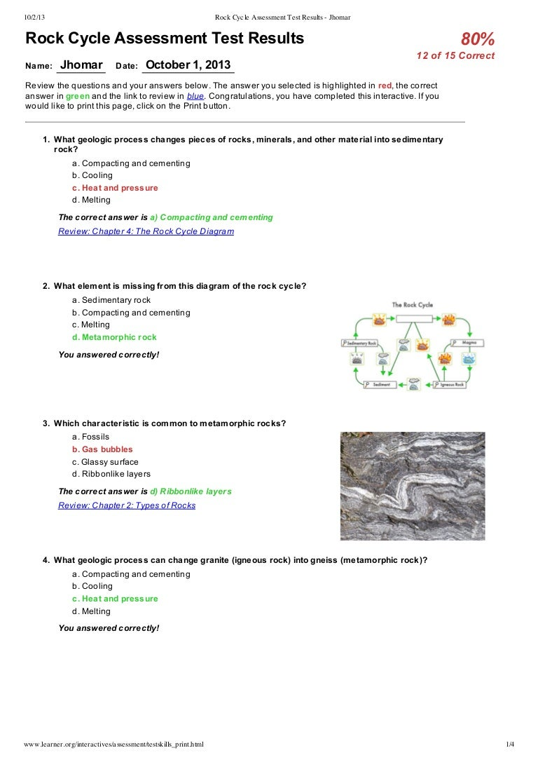 Rock cycle assessment test results jhomar pooptronica