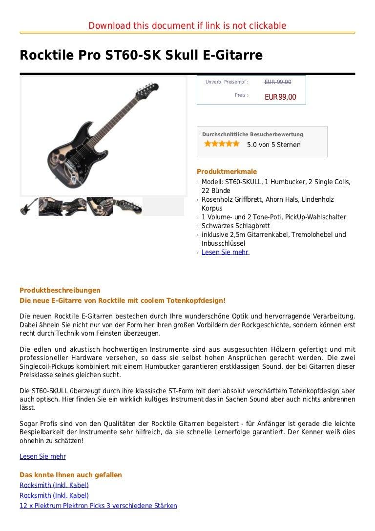 Akustisch hochwertige ROCKTILE E-Gitarre im Totenkopfdesign