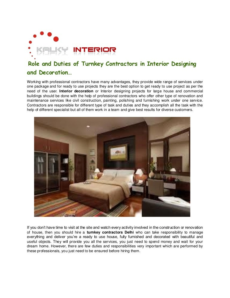 Role And Duties Of Turnkey Contractors In Interior Designing Deco