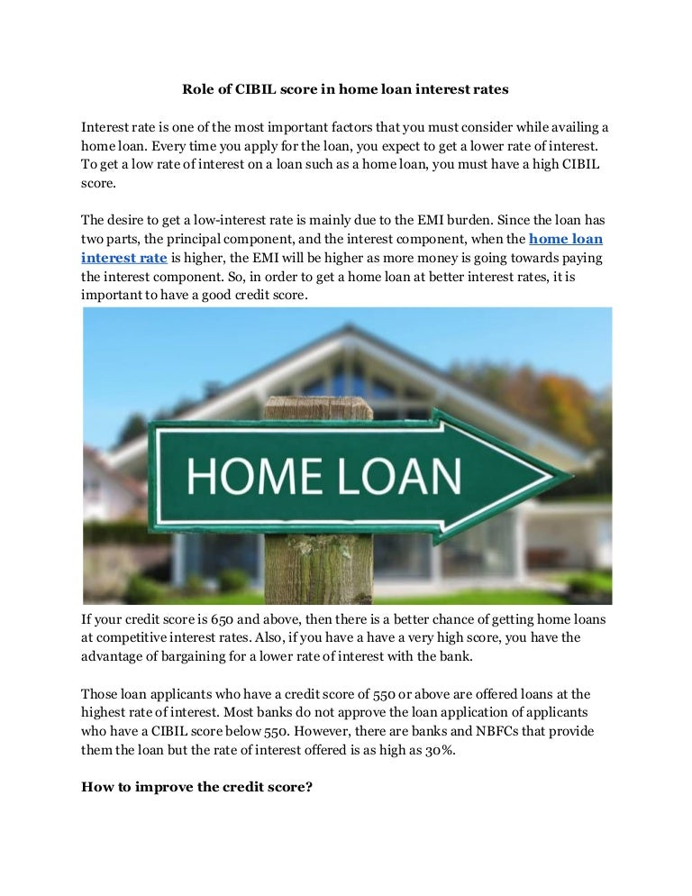 550 Credit Score Home Loan >> Role Of Cibil Score In Home Loan Interest Rates