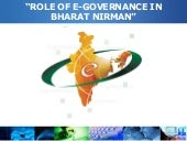 Role of E-Governance In Bharat Nirman