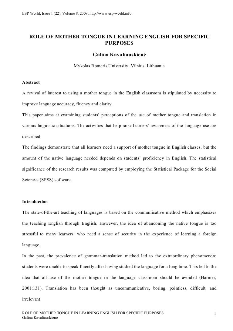 learning a new language essay english language essay topics cdc  role of mother tongue in learning english for specific purposes