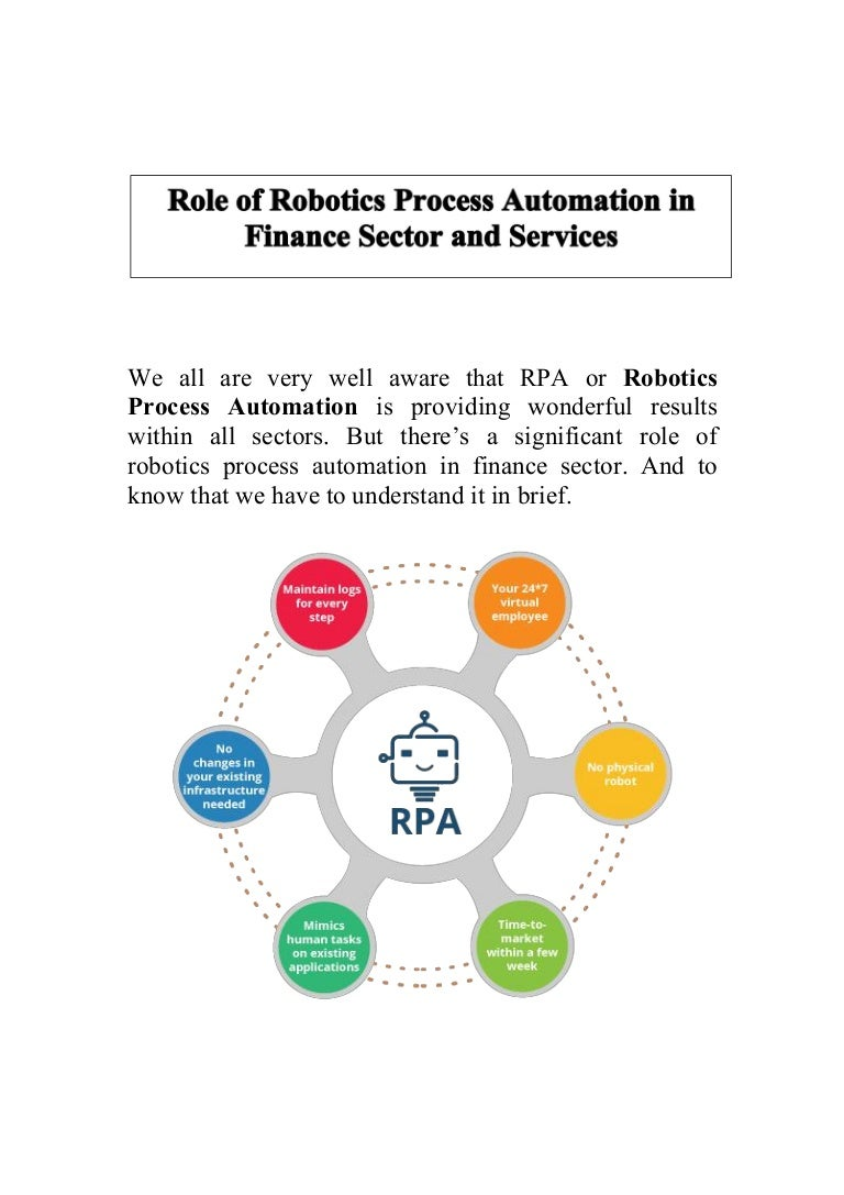 Diagram The Role Of Robotic Process Automation In Finance