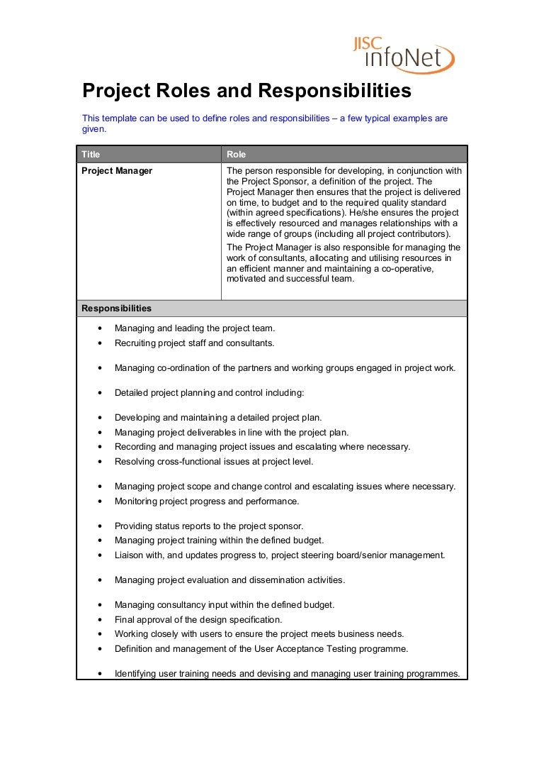 roles and responsibilities template roles and responsibilities project manager 24517