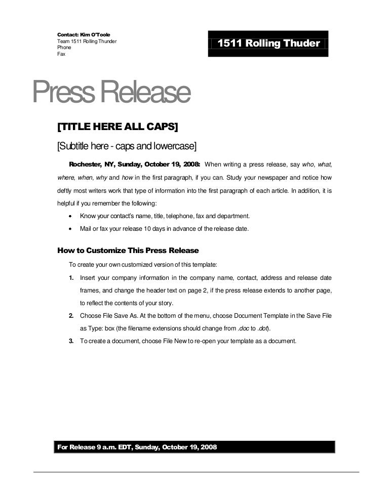 Rolling thunder press release template for Simple press release template