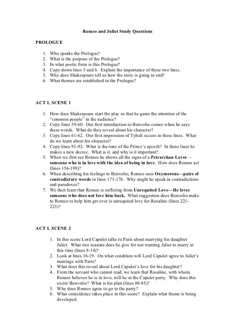 Romeo and Juliet Study Guide - Borland Blog