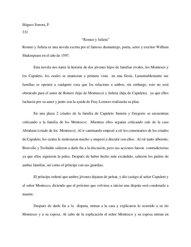 Reporte De Lectura Quot Romeo Y Julieta Quot