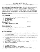 ron matlock resume