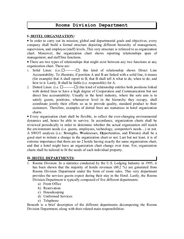 rooms division department rh slideshare net User Manual Guide Procedure Manual