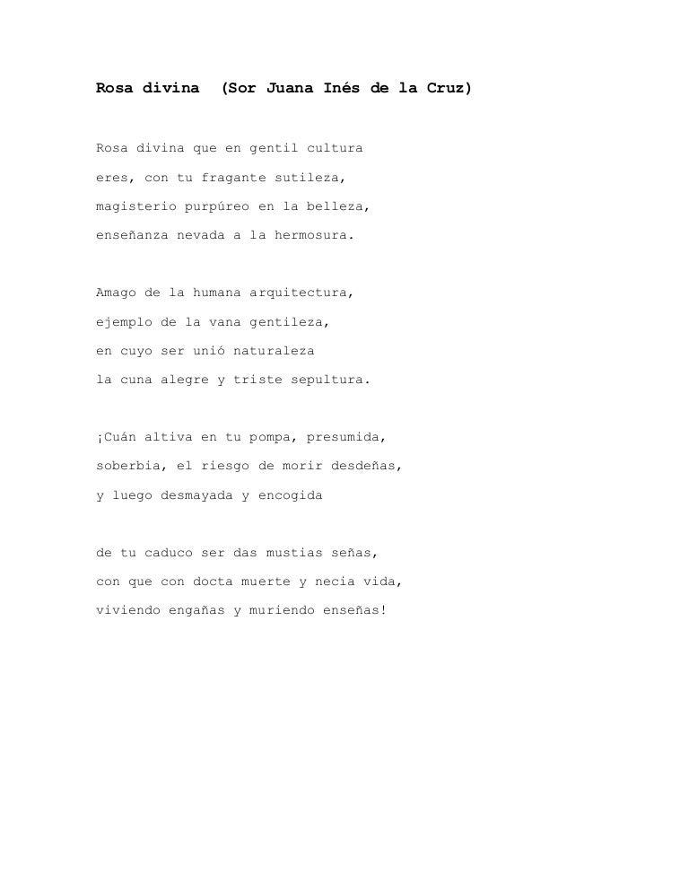 Rosa Divina Poema De Sor Juana Inés De La Cruz